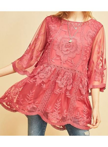 Marsala Lace Peplum Top -