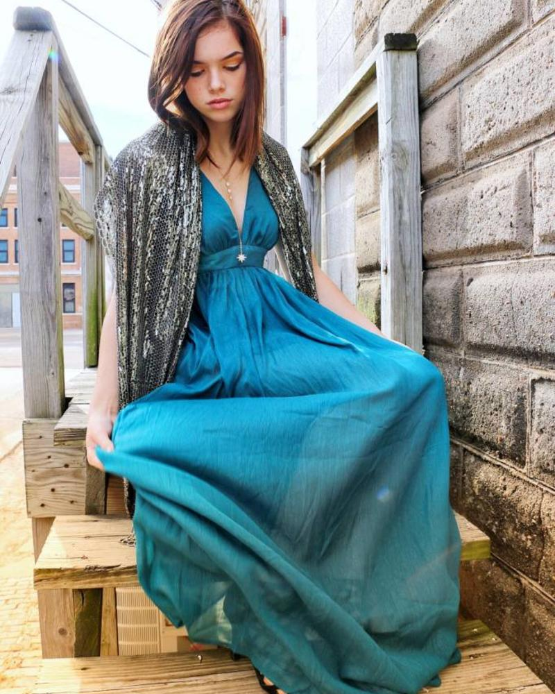 Teal Glitzy Holiday Gown -