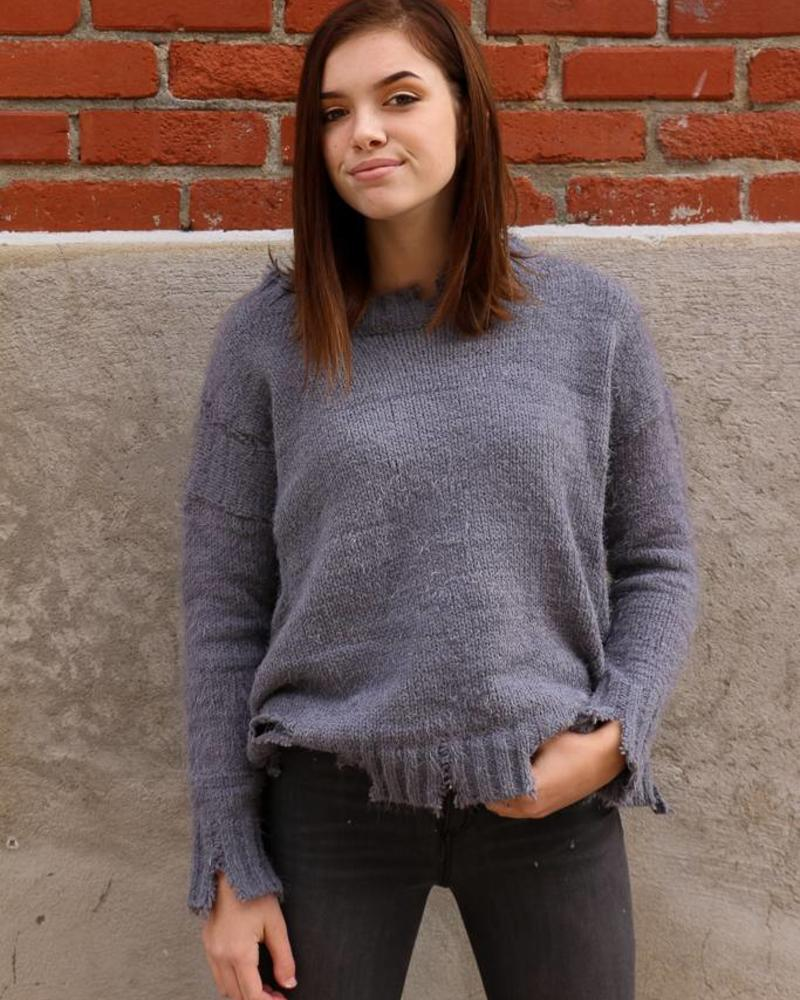 Pewter Distressed Sweater -