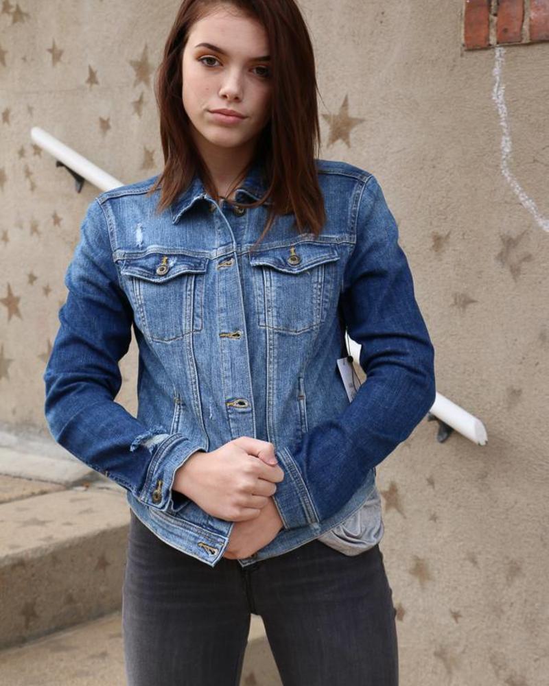 f14eb59d2e3a Medium Wash Jean Jacket - Sneak Peek Denim - - Anima Bella Salon Spa ...
