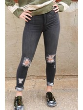 Sneak Peek Black Distressed Skinny - Sneak Peek Denim -