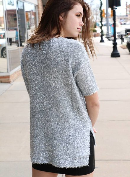 Silver Fuzzy Knit Holiday Sweater -