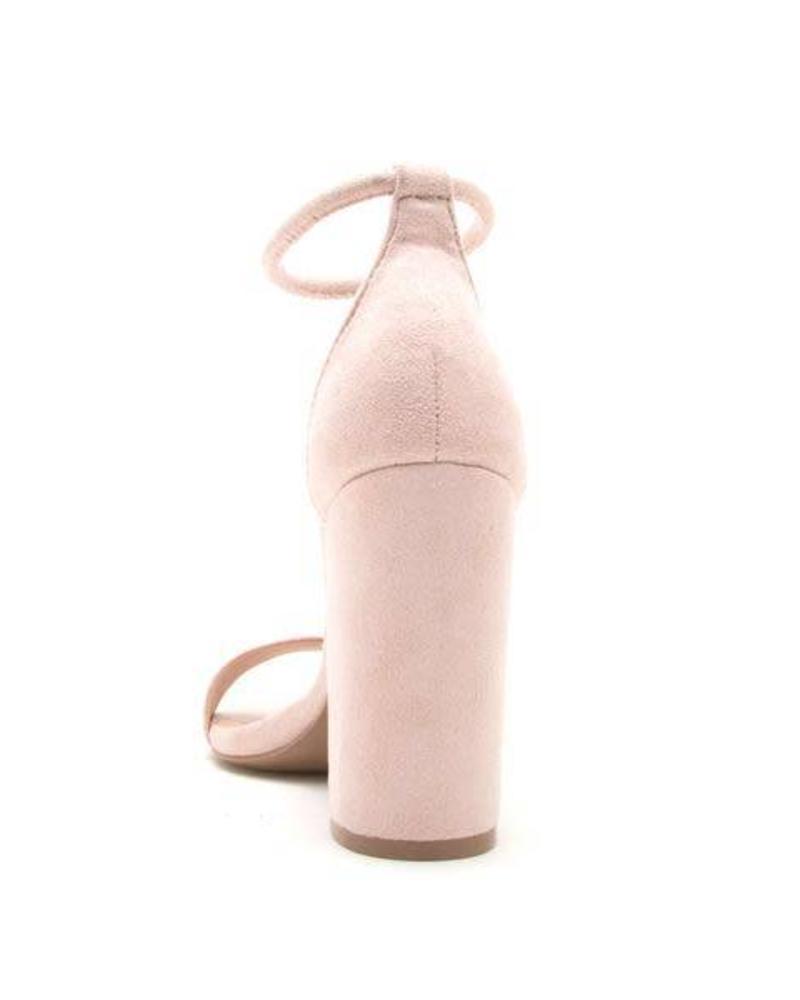 Nude Suede Block Heel -