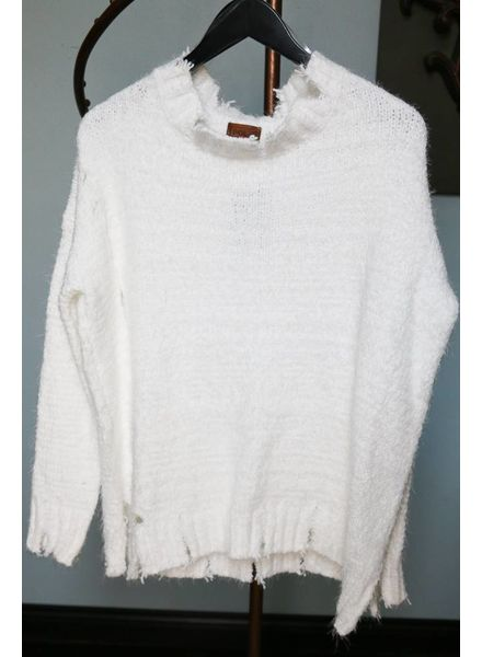 Snow White Distressed Sweater -