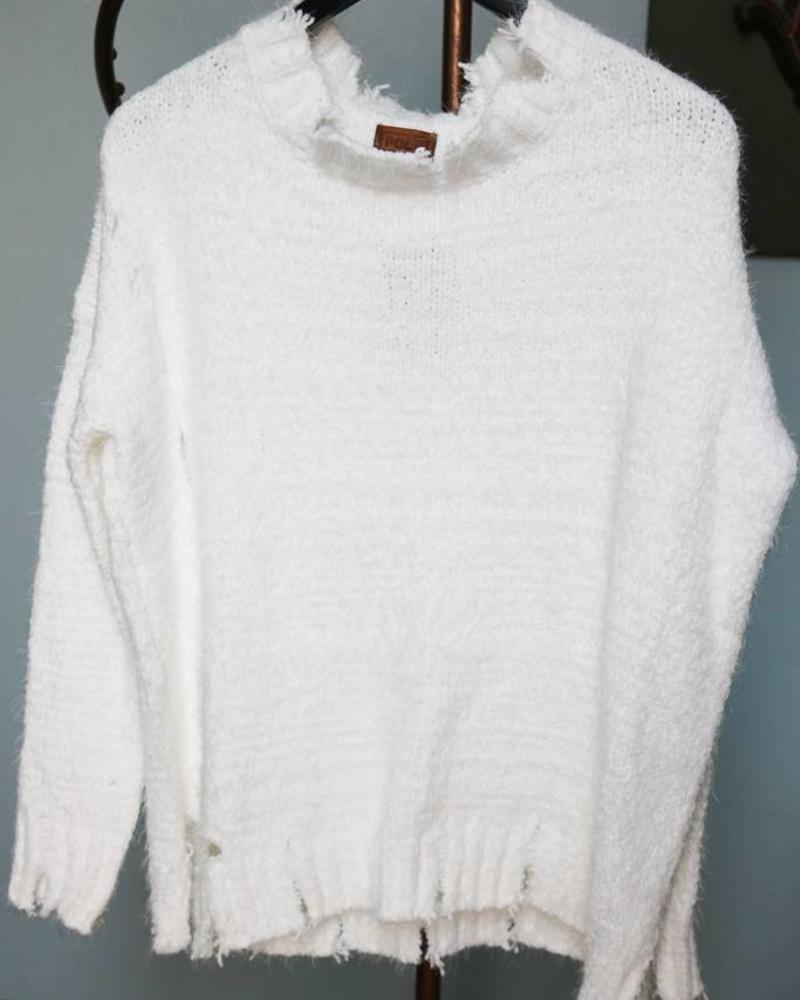 Snow White Distressed Sweater -