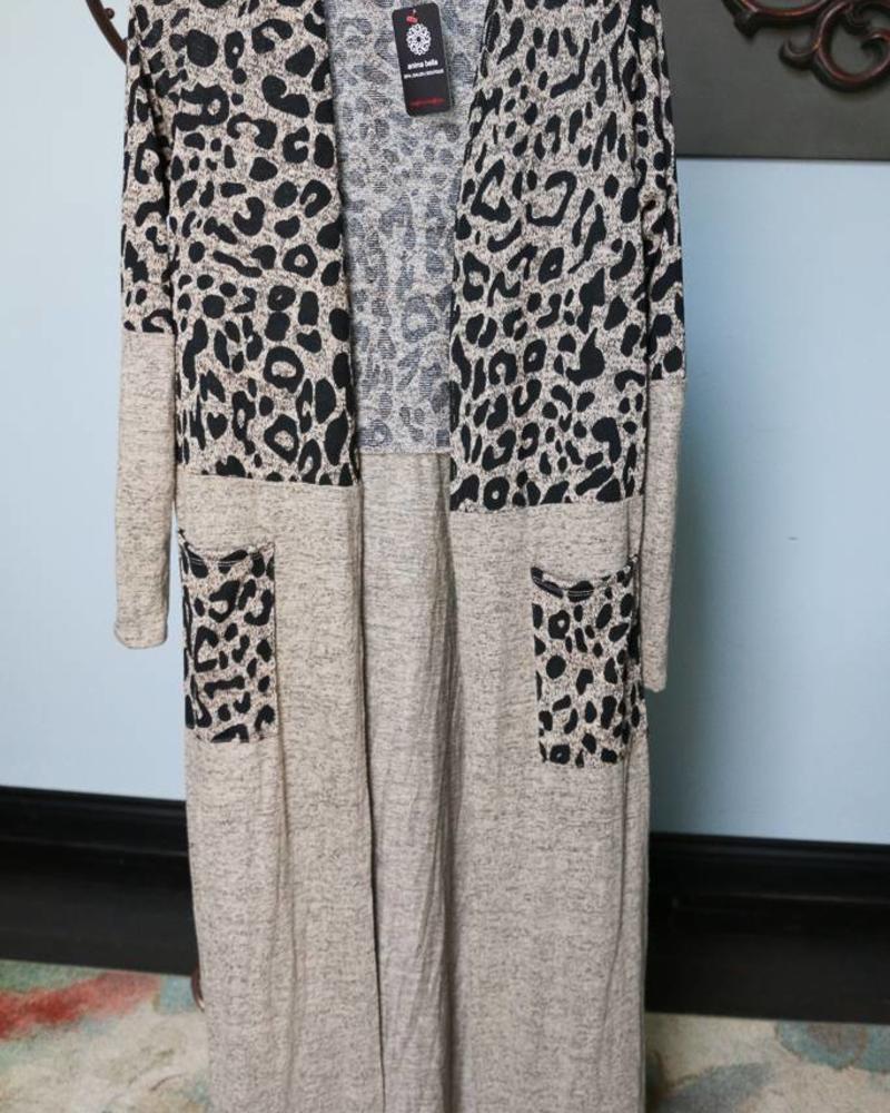 Myesper Leopard Block Cardigan -