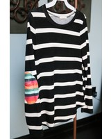 12pm Mon Ami Striped Long Sleeve w/sirape Patch Elbow -