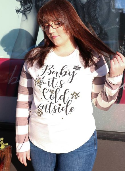 12pm Mon Ami Baby It's Cold Outside Striped Sleeve -
