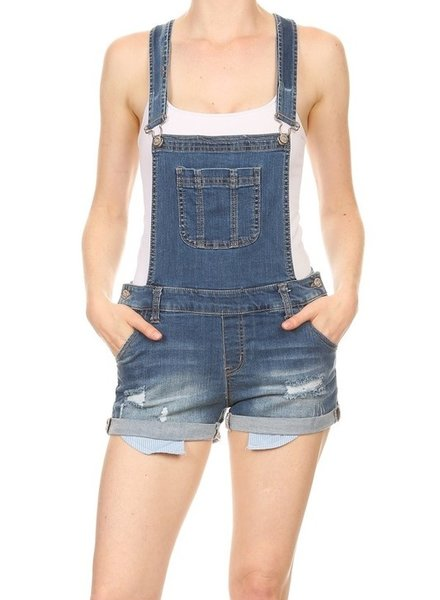 Basic Denim Distressed Denim Shortalls - Size Large