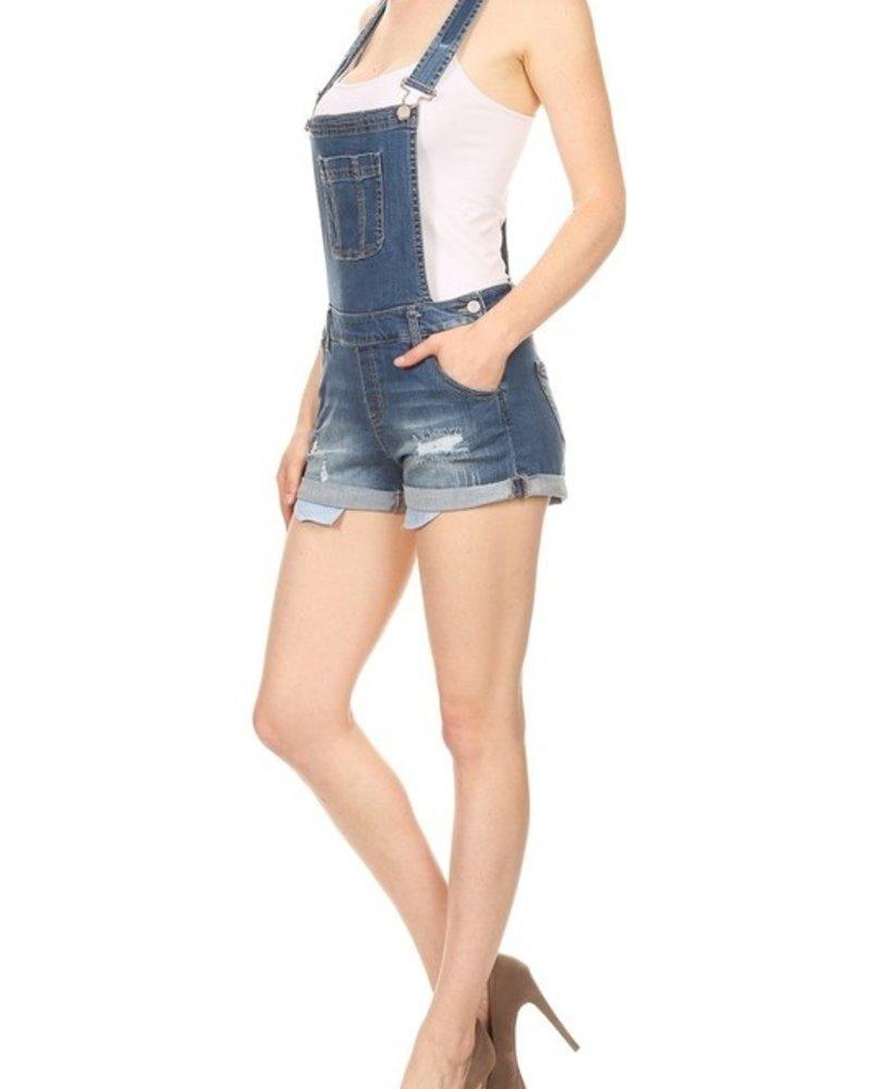 Basic Denim Distressed Denim Shortalls - Size Large