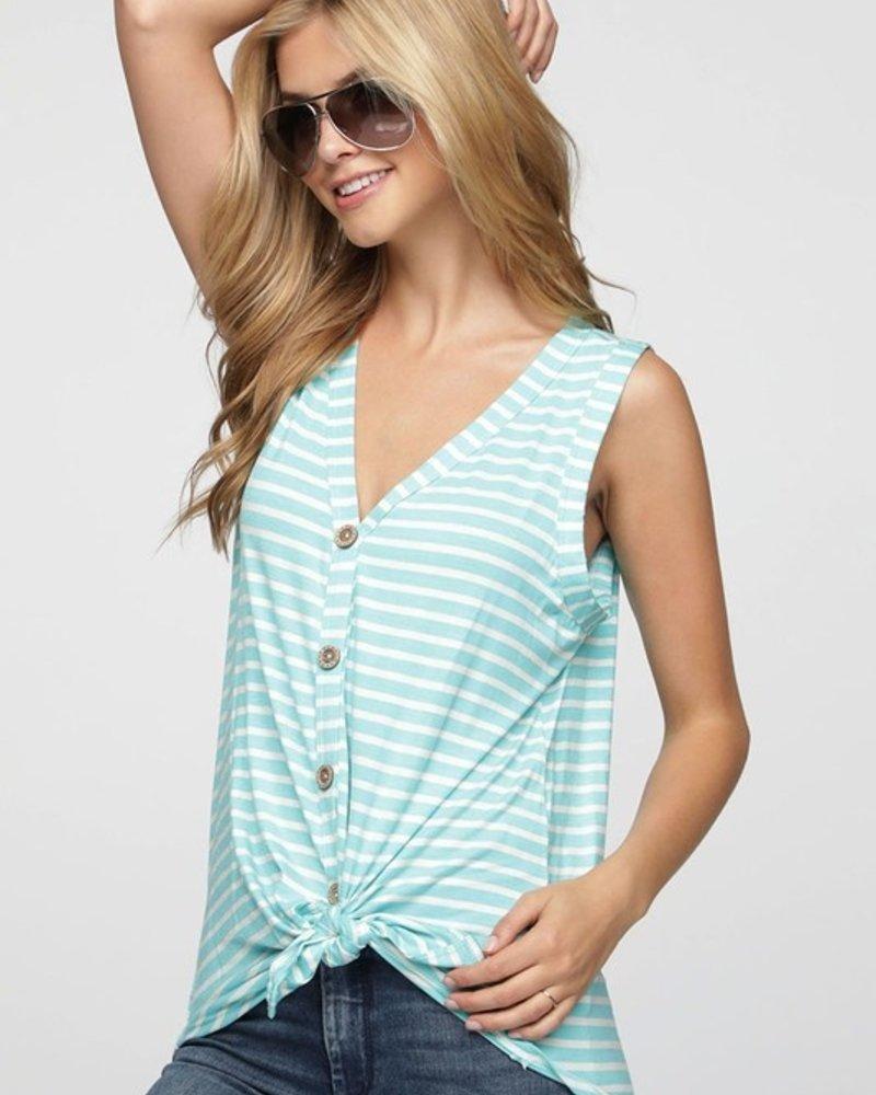 Bibi Sleeveless Stripe Top w/Button Front Size Large