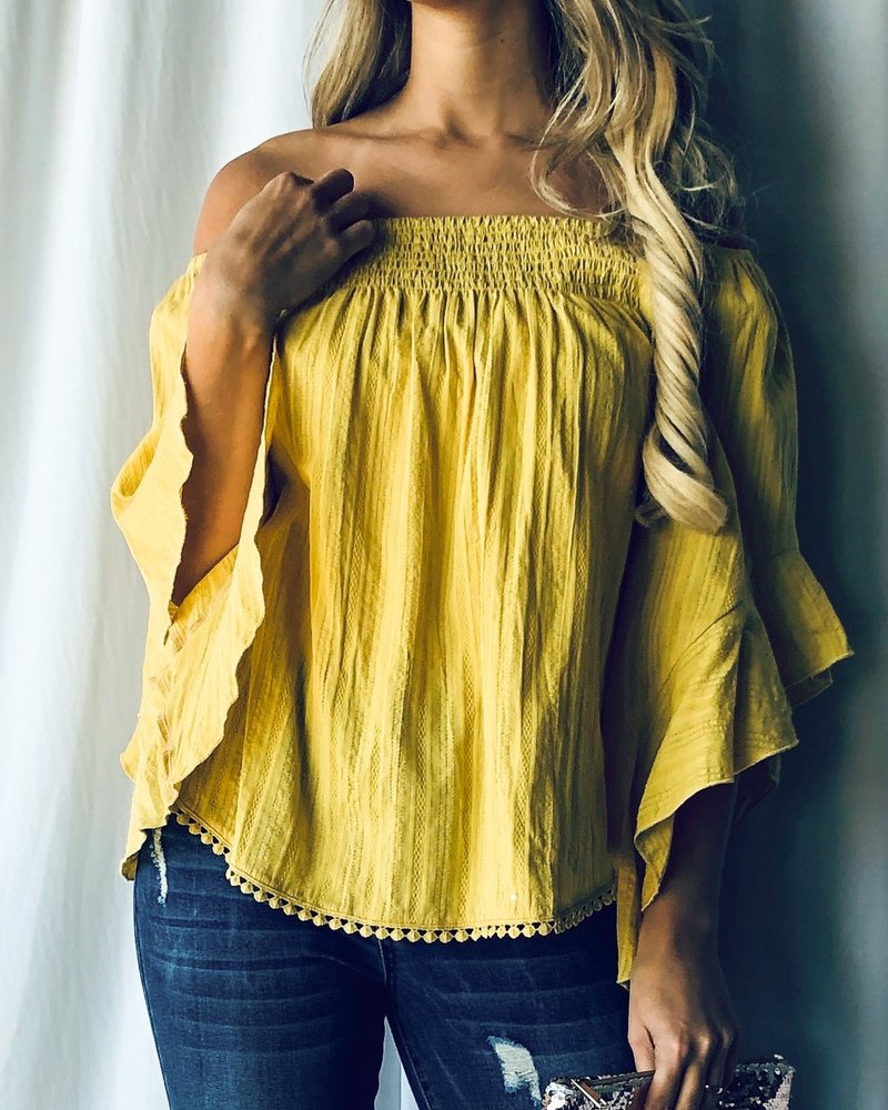 And the Why Yellow Off Shoulder Top Size Small