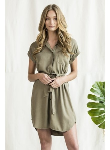 Sneak Peek Sneak Peak Olive Dress with Tie - Size Small