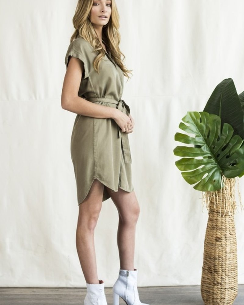 Sneak Peek Sneak Peak Olive Dress with Tie - Size Small
