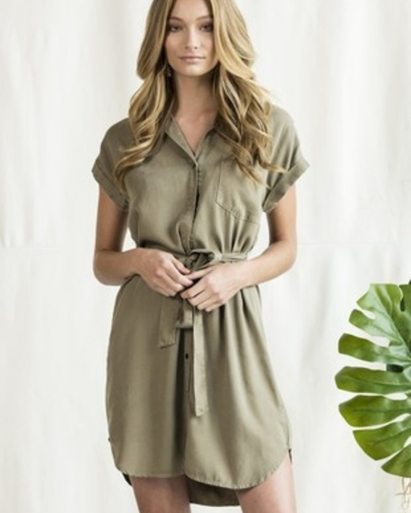Sneak Peek Sneak Peak Olive Dress with Tie - Size Medium