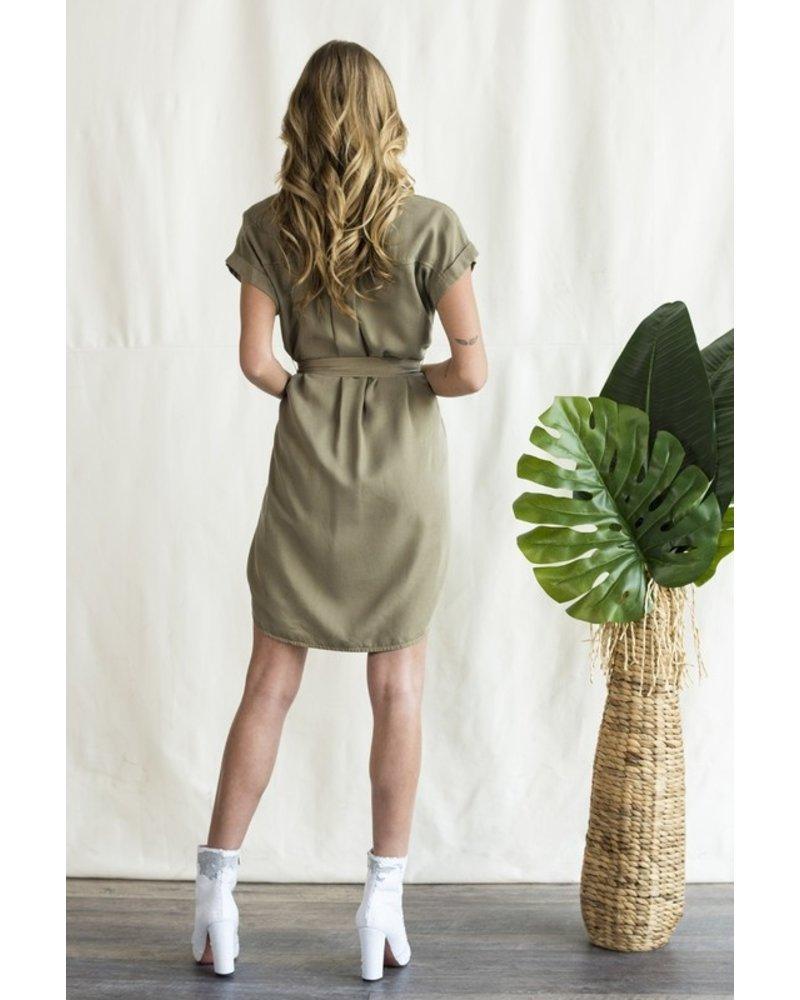 Sneak Peek Sneak Peak Olive Dress with Tie - Size Large