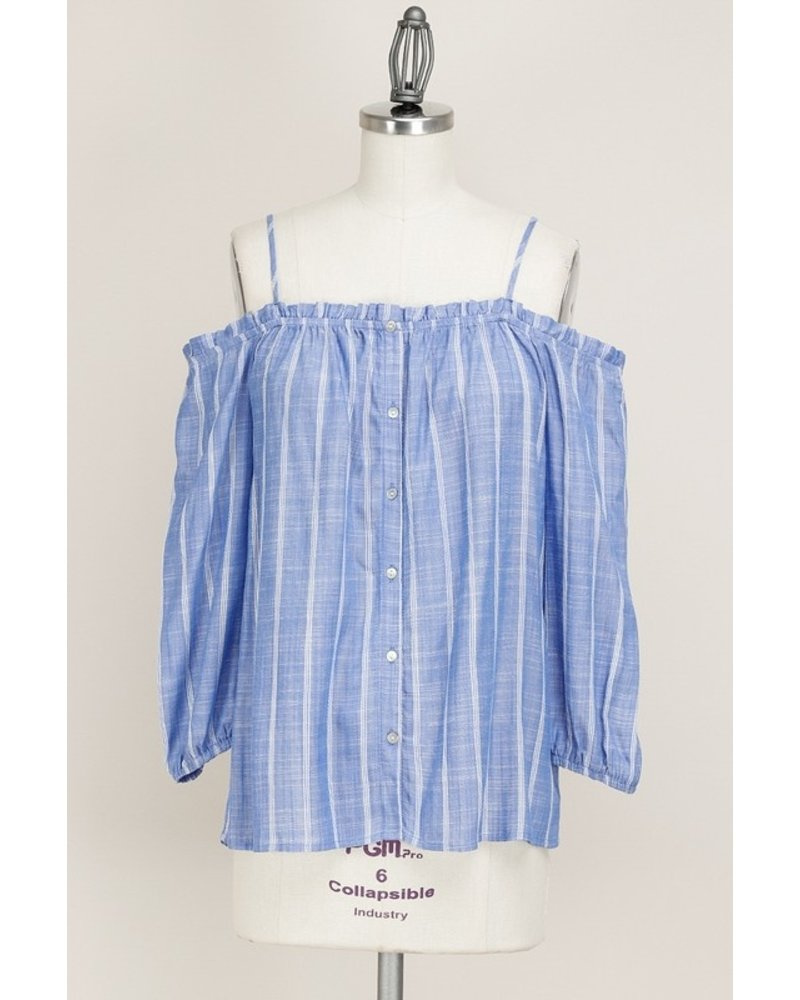 Off Shoulder Blue Striped Top Size Large