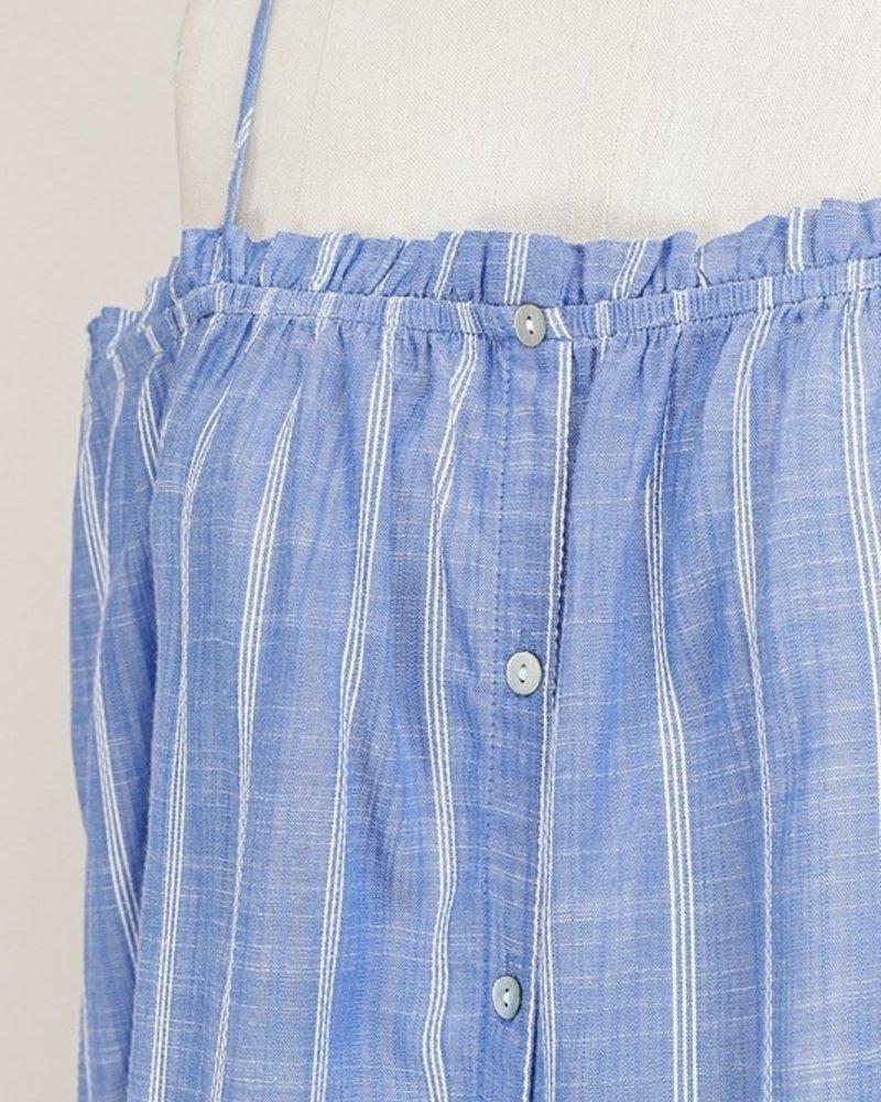 Off Shoulder Blue Striped Top Size Large