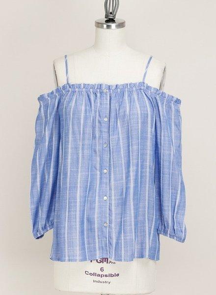 Off Shoulder Blue Striped Top Size Medium