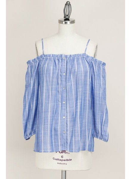 Off Shoulder Blue Striped Top Size Medium