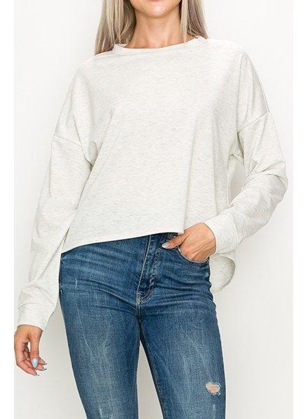 Top Destinations Heather Cream High Low Sweatshirt Size Medium