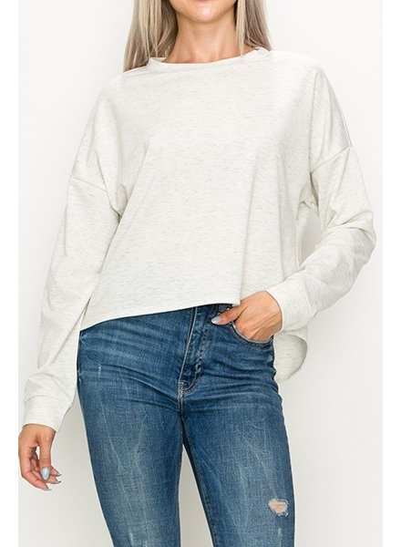 Top Destinations Heather Cream High Low Sweatshirt Size Small