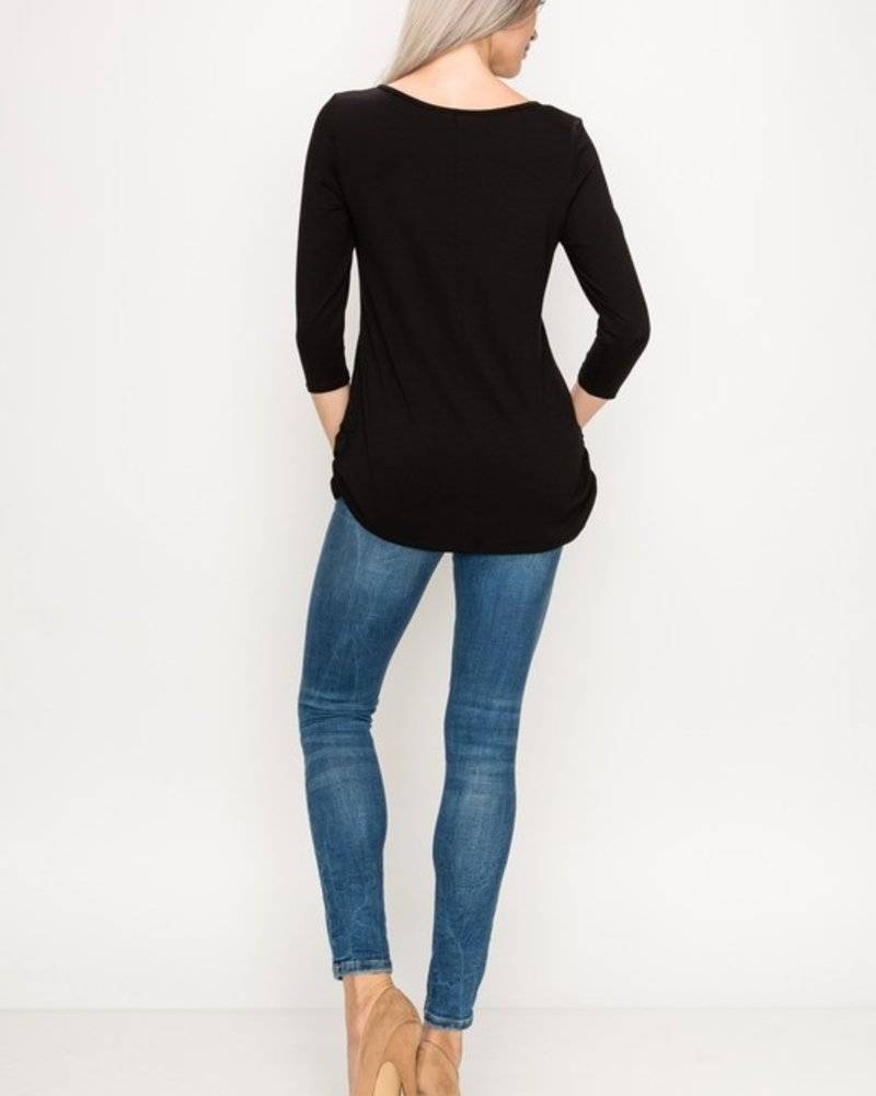 Top Destinations Black 3/4 Sleeve Top Size Large