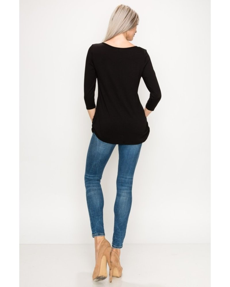 Top Destinations Black 3/4 Sleeve Top Size Small
