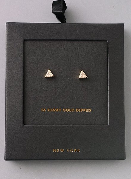 Secret Box 14 karat gold dipped tri earring