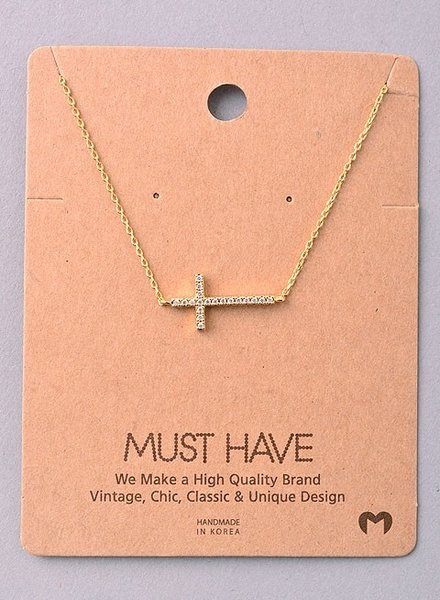 Must Have Sideways cross with bling chain necklace