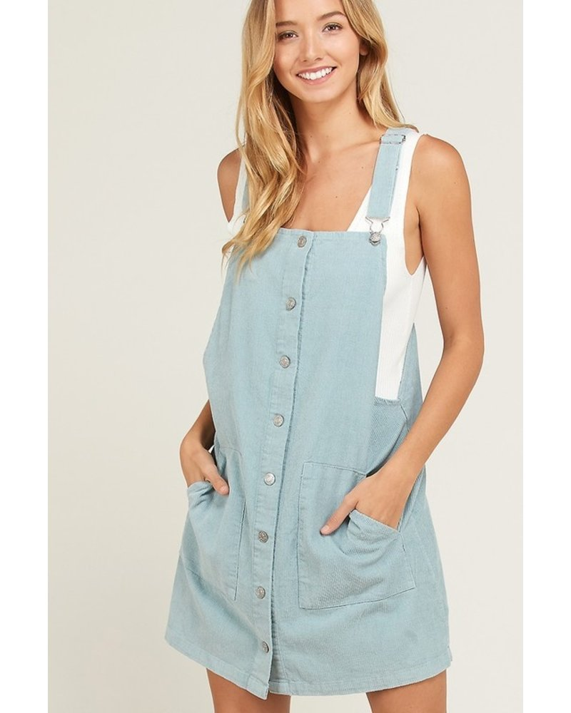 Corduroy mini skirt overalls