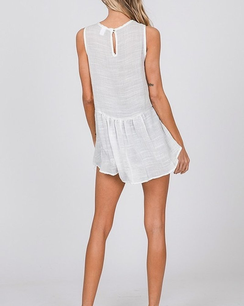 CY Fashion Sleeveless Top with Front Embroidered Detail