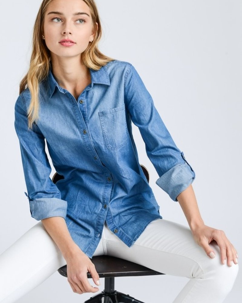 Dark Denim L/S Shirt Size 2XL