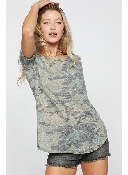 Bibi Camo print v neck with strapped front