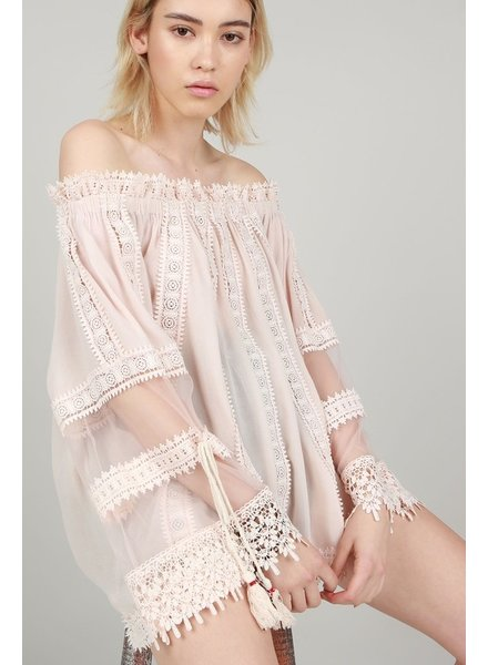Off Shoulder Crochet Lace Blush Tunic L