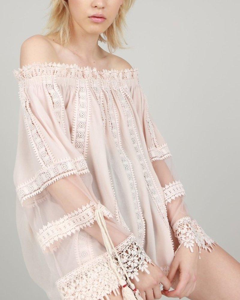 Off Shoulder Crochet Lace Blush Tunic L