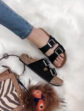 WeeBoo Black Two Strap Cork Sandals