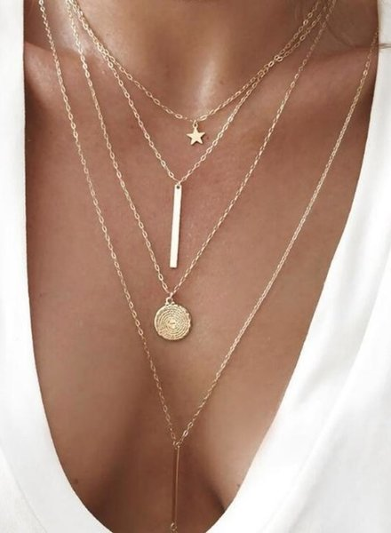 Fashion Jewelry Bohemian multilayer round star necklace