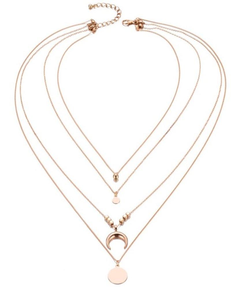 Fashion Jewelry Bohemian multilayer crescent choker necklace