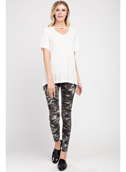 mittoshop Camouflage pintucked side zipper skinny pants