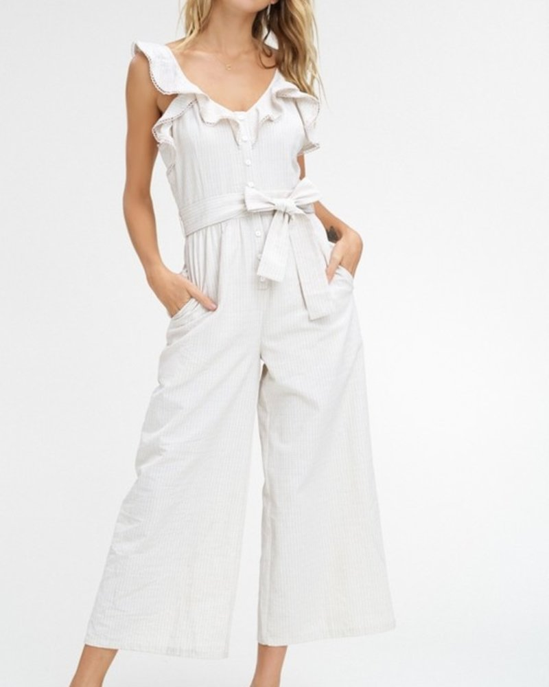 Striped textured button down jumpsuit