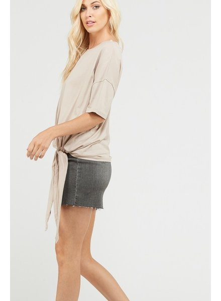 Wishlisht TAUPE side knot top LG