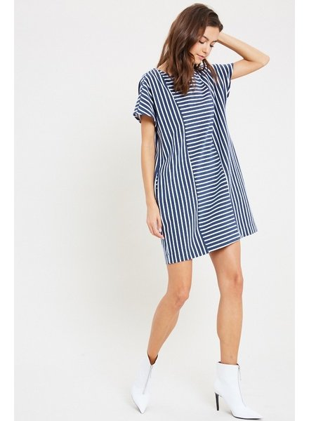 Navy Stripped Dress M/L