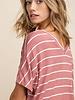 mittoshop Jersey Stripe V-neck Mauve M/L