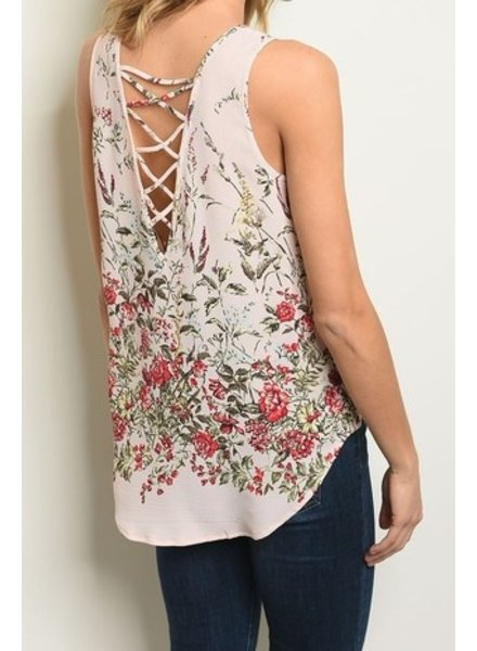 Turning Point Floral Scoop Neck Criss Cross Size Medium