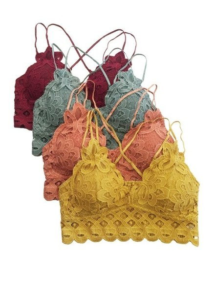 Anemone Crochete lace bralette, criss-cross back, removable pads