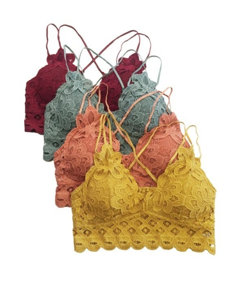 Anemone Crochete lace bralette, criss-cross back, removable pads