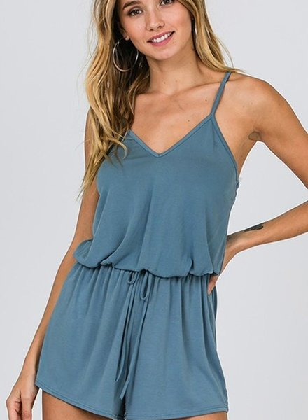 CY Fashion Sleevless strappy romper w/drawstring waist