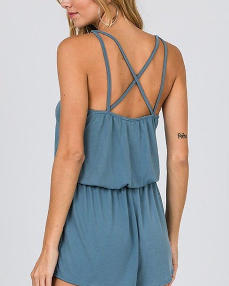 CY Fashion Sleevless strappy romper w/drawstring waist