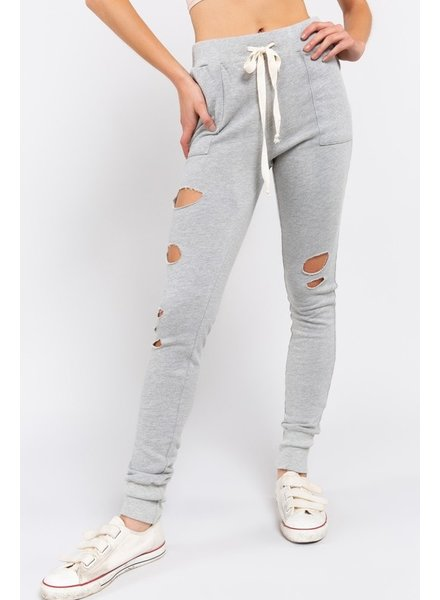 Grey Distressed Joggers L